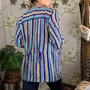 Vintage geometric colorful striped blazer